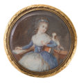 Decorative Arts, Continental:Other , CONTINENTAL LACQUERED WOOD, TORTOISESHELL AND GILT METAL BOX WITHPORTRAIT MINIATURE . Probably French, Circa 1800. 1-1/4 x ...