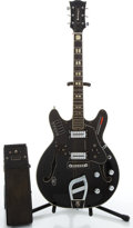 Musical Instruments:Electric Guitars, Vintage Guitorgan B300 Black Electric Guitar & Pedal #1008640....