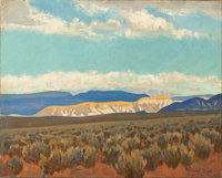 MAYNARD DIXON (American, 1875-1946) Calico Hills (Virgin Valley, Nevada; No.350), 1927 Oil on canvas
