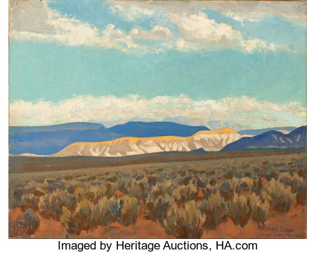 MAYNARD DIXON (American, 1875-1946)Calico Hills (Virgin Valley, Nevada; No.350), 1927Oil on canvas16 x 20-1/4 inch...