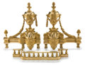 Decorative Arts, French:Other , A PAIR OF FRENCH LOUIS XVI STYLE GILT BRONZE CHENETS WITH FENDERS .Unknown maker, probably Paris, France, circa 1875-1900. ... (Total:2 Items)