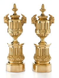 A PAIR OF FRENCH LOUIS XVI STYLE GILT BRONZE CHENETS Circa 1875-1900 12-1/4 inches high (31.1 cm)