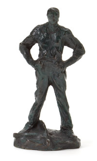 A FRENCH PATINATED BRONZE FIGURE AFTER AIMÉ JULES DALOU: RESTING WORKER After A