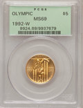 Modern Issues: , 1992-W G$5 Olympic Gold Five Dollar MS69 PCGS. PCGS Population(1664/328). Mintage: 27,732. Numismedia W...
