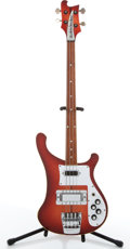 Musical Instruments:Bass Guitars, Rickenbacker 4001 Red Burst Fretless Electric Bass Guitar #OL8430....