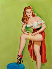PETER DRIBEN (American, 1902-1968) Thigh Measurement, Wink magazine cover, December 1949 Acrylic on