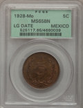 Mexico, Mexico: Republic 5 Centavos 1928 Large Date,...