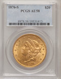 Liberty Double Eagles: , 1876-S $20 AU58 PCGS. PCGS Population (649/1340). NGC Census:(2143/1682). Mintage: 1,597,000. Numismedia Wsl. Price for pr...