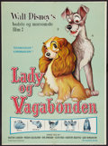 "Movie Posters:Animation, Lady and the Tramp (Walt Disney, R-1962). Danish One Sheet (25"" X 34""). Animation.. ..."