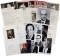 Baseball Collectibles:Others, Baseball Executives Signed Photographs and Documents Lot of 16....