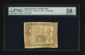 Colonial Notes:Pennsylvania, Pennsylvania October 1, 1773 50s PMG Choice About Unc 58 EPQ.. ...