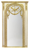 Furniture : French, A FRENCH LOUIS XVI STYLE GILT AND PAINTED WOOD TRUMEAU MIRROR .Unknown maker, probably Paris, France, circa 1875-1890. Unma...