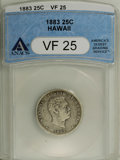 Coins of Hawaii: , 1883 25C Hawaii Quarter VF25 ANACS. NGC Census: (0/643). PCGSPopulation (3/1071). Mintage: 500,000. (#10987)...