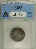 Coins of Hawaii: , 1883 25C Hawaii Quarter XF45 ANACS. NGC Census: (11/614). PCGSPopulation (25/1013). Mintage: 500,000. (#10987)...