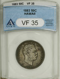 Coins of Hawaii: , 1883 50C Hawaii Half Dollar VF35 ANACS. NGC Census: (14/238). PCGS Population (19/377). Mintage: 700,000. (#10991)...