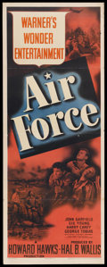 "Movie Posters:War, Air Force (Warner Brothers, 1943). Insert (14"" X 36""). War.Starring John Garfield, Gig Young, Harry Carey, and George Tobia..."