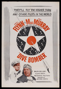 "Dive Bomber (Warner Brothers, R-1950s). One Sheet (27"" X 41""). Drama. Starring Errol Flynn, Fred MacMurray, Ra..."