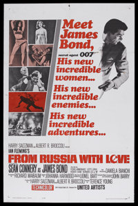 "From Russia With Love (United Artists, 1964). One Sheet (27"" X 41"") Style B. James Bond Action. Starring Sean..."