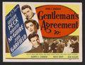 """Movie Posters:Drama, Gentleman's Agreement (20th Century Fox, 1947). Title Lobby Card (11"""" X 14""""). Drama. Starring Gregory Peck, Dorothy McGuire,..."""