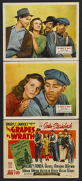"Movie Posters:Drama, The Grapes of Wrath (20th Century Fox, R-1947). Title Lobby Card(11"" X 14"") and Lobby Cards (2) (11"" X 14""). Drama. Starrin...(Total: 3 Item)"