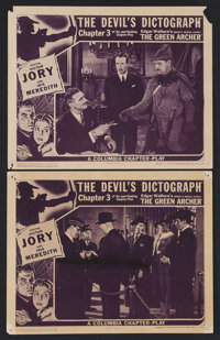 """The Green Archer (Columbia, 1940). Lobby Cards (2) (11"""" X 14"""") Chapter 3 -- """"The Devil's Dictograph.""""..."""