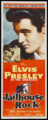 "Jailhouse Rock (MGM, 1957). Insert (14"" X 36""). After Elvis Presley's initial success with gyrating rock 'n' r..."