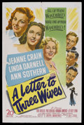 "Movie Posters:Drama, A Letter to Three Wives (20th Century Fox, 1949). One Sheet (27"" X41""). Comedy Drama. Starring Jeanne Crain, Linda Darnell,..."