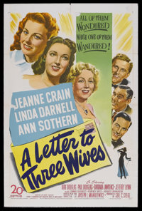 """A Letter to Three Wives (20th Century Fox, 1949). One Sheet (27"""" X 41""""). Comedy Drama. Starring Jeanne Crain..."""