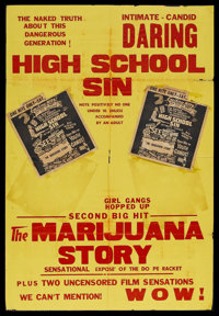"The Marijuana Story (Unknown, 1950). One Sheet (27"" X 41""). Crime. Little is known about this exploitation fil..."