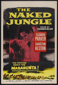 "The Naked Jungle (Paramount, 1954). One Sheet (27"" X 41""). Adventure. Starring Eleanor Parker, Charlton Heston..."