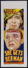 "Movie Posters:Comedy, She Gets Her Man (Universal, 1935). Australian Daybill (15"" X 40"").Crime Comedy. Starring Zasu Pitts, Hugh O'Connell, Helen..."