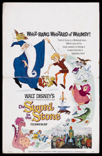 """The Sword in the Stone (Buena Vista, 1964). Window Card (14"""" X 22""""). Animated. Starring the voices of Rickie S..."""