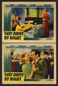 "Movie Posters:Drama, They Drive By Night (Warner Brothers, 1940). Lobby Cards (2) (11"" X 14""). Film Noir. Starring George Raft, Ann Sheridan, Ida... (Total: 2 Items)"