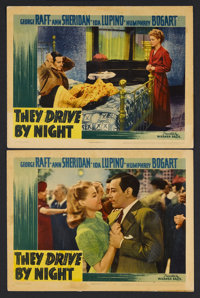 "They Drive By Night (Warner Brothers, 1940). Lobby Cards (2) (11"" X 14""). Film Noir. Starring George Raft, Ann..."