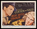 "Movie Posters:Crime, Walk Softly, Stranger (RKO, 1950). Title Lobby Card (11"" X 14"").Crime. Starring Joseph Cotten, Valli, Spring Byington, Paul..."