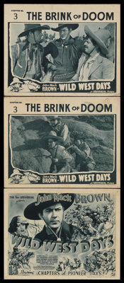 "Wild West Days (Universal, 1937). Title Lobby Card (11"" X 14"") and Lobby Cards (2) (11"" X 14"") Chapt..."