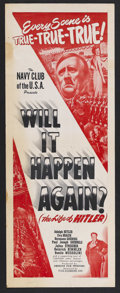 """Movie Posters:Documentary, Will it Happen Again? (Film Classics, Inc., Late 1940s). Insert (14"""" X 36""""). Documentary. Produced by American Film Producer..."""