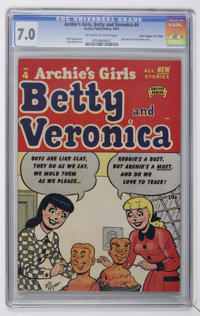 """Archie's Girls, Betty and Veronica #4 Davis Crippen (""""D"""" Copy) pedigree (Archie, 1951) CGC FN/VF 7.0 Off-white..."""
