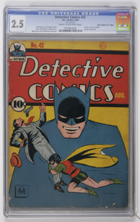 "Detective Comics #42 Davis Crippen (""D"" Copy) pedigree (DC, 1940) CGC GD+ 2.5 Cream to off-white pages"