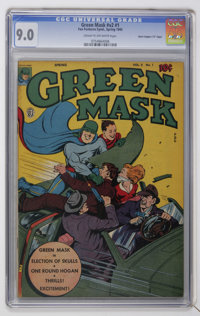 """Green Mask V2#1 Davis Crippen (""""D"""" Copy) pedigree (Fox Features Syndicate, 1945) CGC VF/NM 9.0 Cream to off-wh..."""