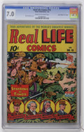 "Golden Age (1938-1955):War, Real Life Comics #15 Davis Crippen (""D"" Copy) pedigree (NedorPublications, 1943) CGC FN/VF 7.0 Cream to off-white pages...."