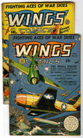 Golden Age (1938-1955):War, Wings Comics #27 and 37 Group (Fiction House, 1942-43).... (Total:2)