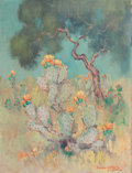 , DAWSON DAWSON-WATSON (British/American, 1864-1939). Cacti inBloom, 1929. Oil on canvas. 21 x 16 inches (53.3 x 40.6 cm)...