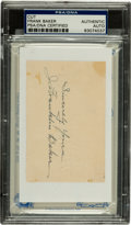 "Baseball Collectibles:Others, Frank ""Home Run"" Baker Cut Signature PSA Authentic. ..."