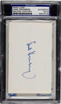 Baseball Collectibles:Others, Hank Greenberg Signed Index Card, PSA Authentic....