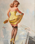 Pin-up and Glamour Art, GIL ELVGREN (American, 1914-1980). Dampened Doll, 1967. Oilon canvas. 30 x 24 in.. Signed center left. From the Est...