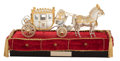 Silver Holloware, American:Other , A FISHER BODIES SILVER AND SILVER GILT COMMEMORATIVE MODEL OF ACOACH WITH TWO HORSES IN DISPLAY CASE . Designed by Fisher B...(Total: 6 Items)