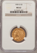 Indian Half Eagles: , 1909-D $5 MS62 NGC. NGC Census: (8928/9861). PCGS Population (8531/11314). Mintage: 3,423,560. Numismedia Wsl. Price for pr...