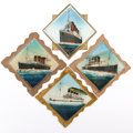 Decorative Arts, British:Other , TITANIC, OLYMPIC, LUSITANIA AND BRITANNIC REVERSE PAINTED GLASSPANELS . 7-1/4 x 7-1/4 inches (18.4 x 18.4 cm) each. ...