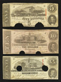 Confederate Notes:1862 Issues, T52 $10 1862. T58 $20 1863. T60 $5 1863.. ... (Total: 3 notes)